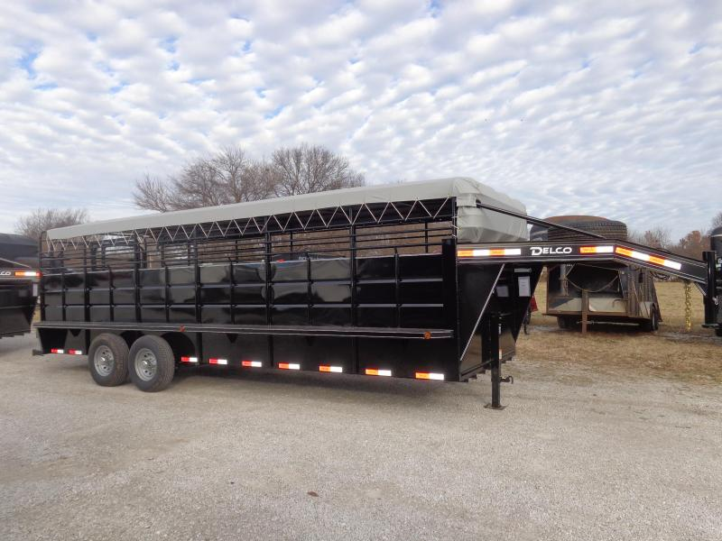 Delco 24' x 6'8 Gooseneck Stock Trailer Black Powder Coat w/ Lt Gray Tarp Top