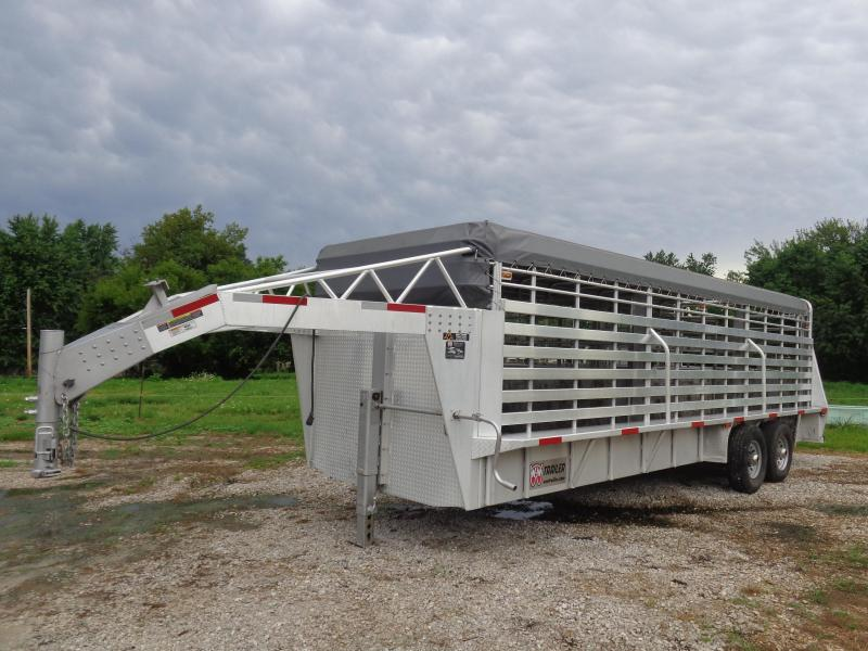 USED 2017 W-W 24' x 6'8 Aluminum Roustabout W/ Light Gray Tarp Livestock Trailer
