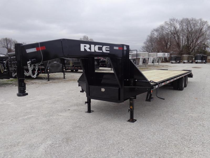 Rice 102 x 27'+5' 22000# Gooseneck Deckover Tandem Dual W/ 2 FoldOver Ramps & Center Pop-Up