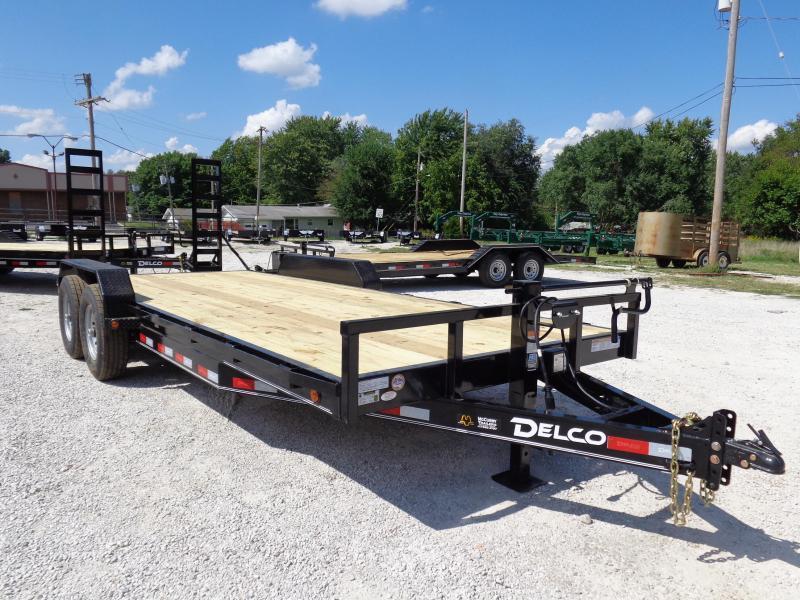 """Delco 83"""" x 20'+2' Dovetail Bumper Pull 14000# Flatbed"""