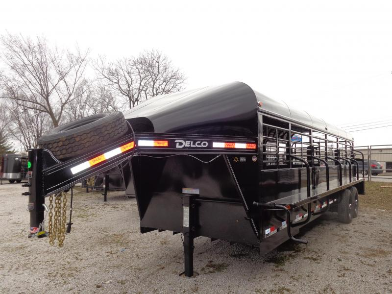 Delco 24' x 6'8 Premium Gooseneck Powder Coated Black Metal Top Livestock Trailer