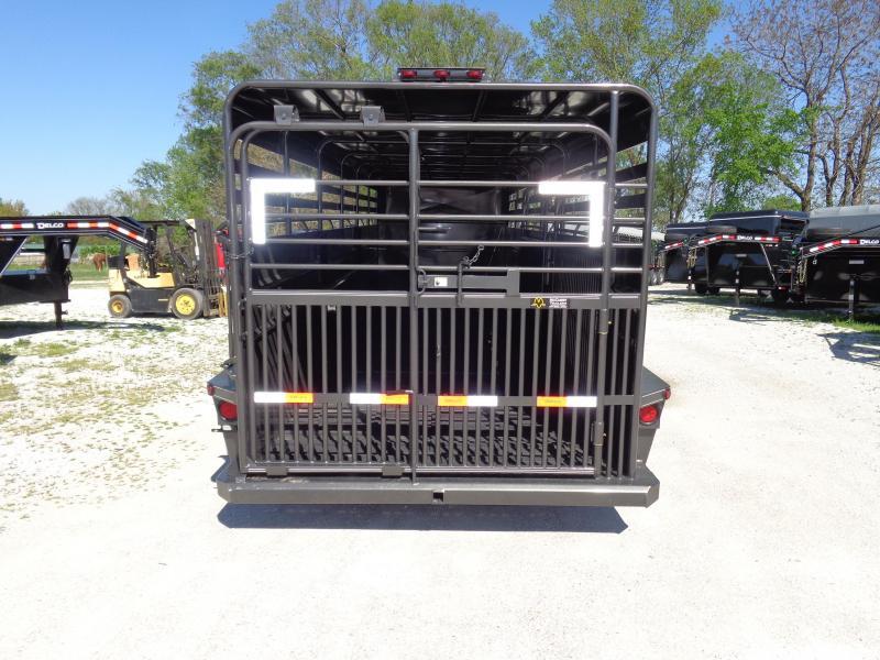 Delco 24' x 6'8 Metal Top Dark Gray Powder Coated Gooseneck Livestock Trailer