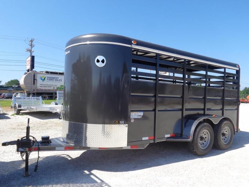 Delco 16' x 6' Dark Gray Powder Coated Bumper Pull Livestock Trailer in Ashburn, VA