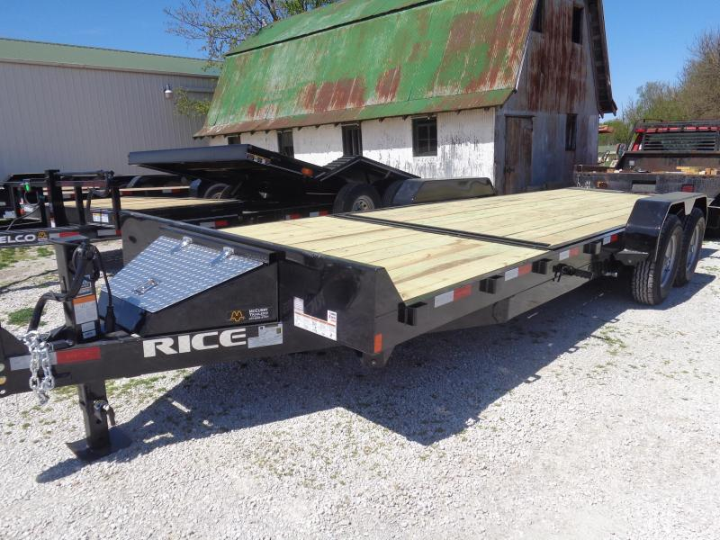 Rice 82 x 16'+6' Knife Edge Bumper Pull 14000# Partial Tilt Heavy Duty Flatbed