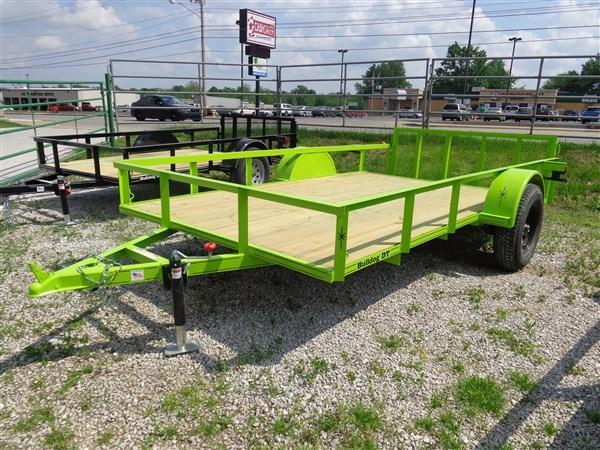 Bulldog 76 x 10+2 Dovetail Lime Green Utility Trailer