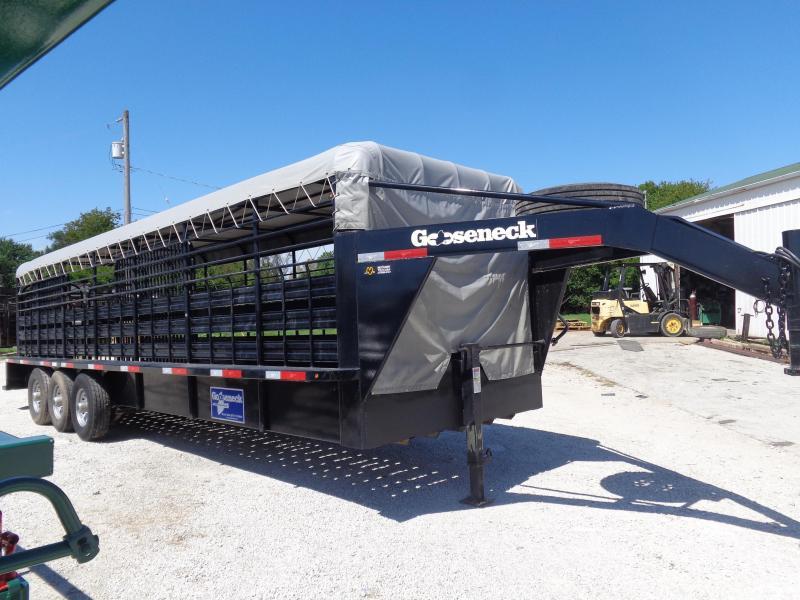 USED 2018 Gooseneck Brand 28' x 6'8 Black with Light Gray Tarp Gooseneck Livestock Trailer