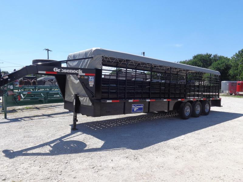 USED 2018 Gooseneck Brand 28' x 6'8 Black with Light Gray Tarp Gooseneck Livestock Trailer