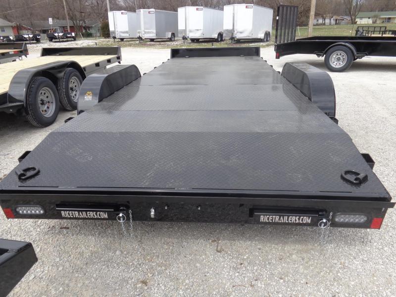 Rice 82 x 18'+2' Bumper Pull 7000# Magnum Car Hauler Flatbed Trailer (DECK PLATE FLOOR)