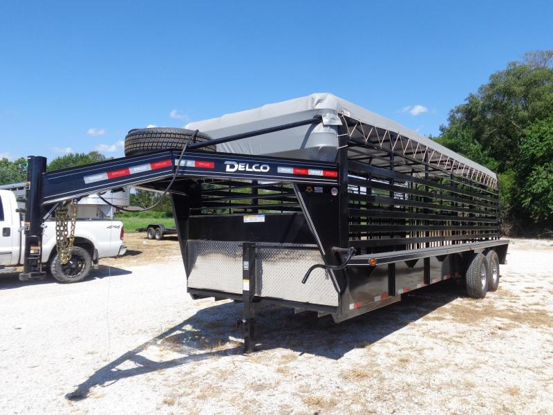 Delco 24' x 6'8 Gooseneck Powder Coated Black w/ Dark Gray Tarp Livestock Trailer