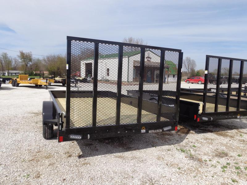 """Rice 76"""" x 12' Stealth Bumper Pull Black with Silver-Out Utility Trailer"""