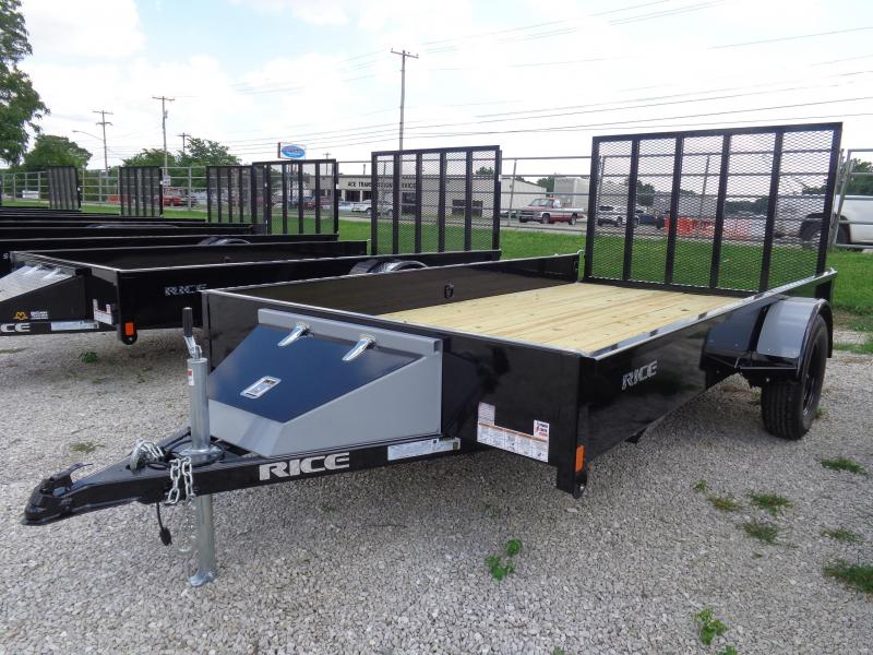 "Rice 76"" x 12' Stealth Bumper Pull Black with Silver-Out Utility Trailer"