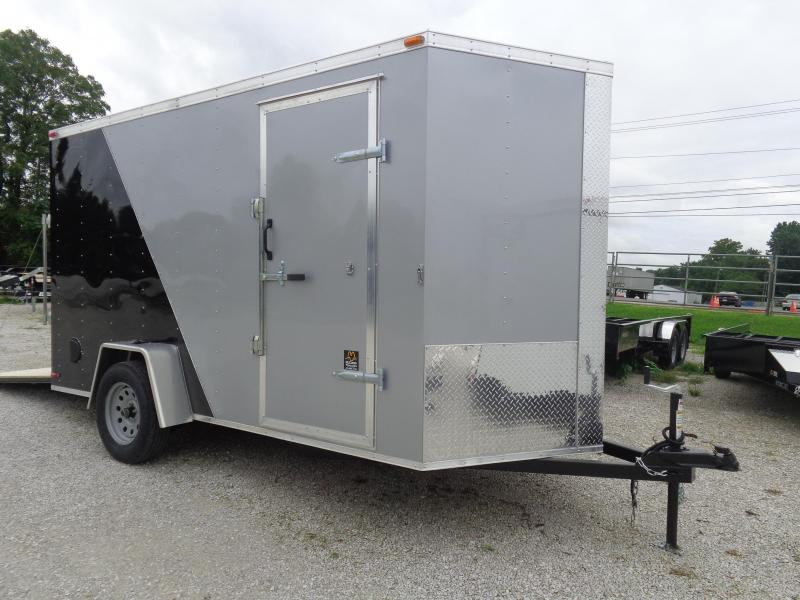 Box Cargo 6' x 12' 1/2 Diamond Ice & 1/2 Black Bumper Pull Enclosed Cargo Trailer