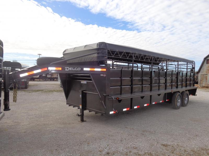 "Delco 24' x 6'8"" Gooseneck Stock Trailer Dark Gray w/ Black Tarp"