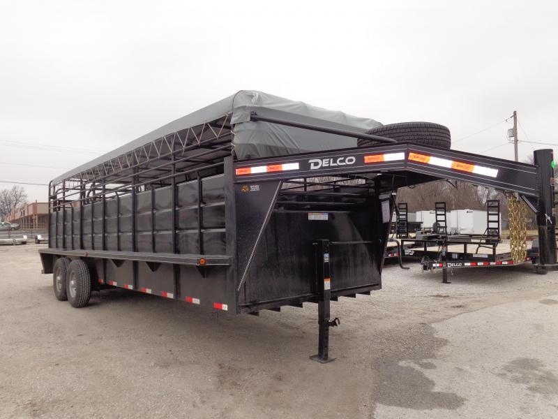 "Delco 24' x 6'8"" Gooseneck Stock Trailer Black w/ Dark Gray Tarp"