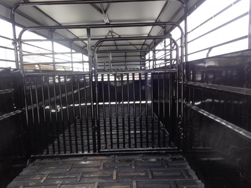 Delco 24' x 6'8 Gooseneck Powder Coated Black w/ Dark Gray Tarp Livestock Trailer