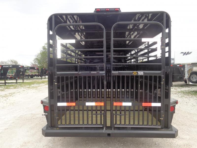 Delco 16' x 6'8 Metal Black Powder Coated Gooseneck Livestock Trailer