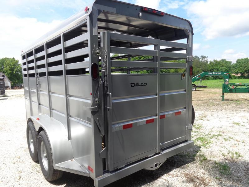 Delco 16' x 6' Silver Powder Coated Bumper Pull Livestock Trailer