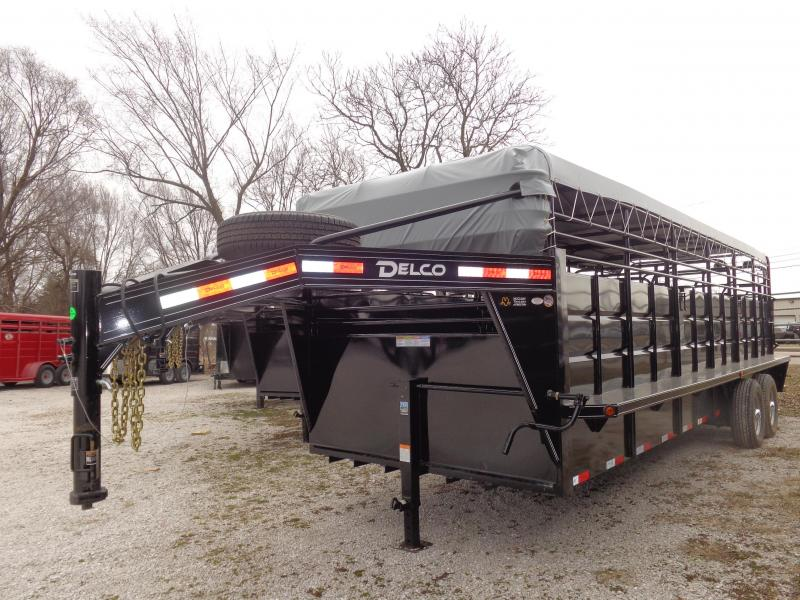 Delco 24' x 6'8 Powder Coated Black w/ Light Gray Tarp  Gooseneck Livestock Trailer  in Ashburn, VA