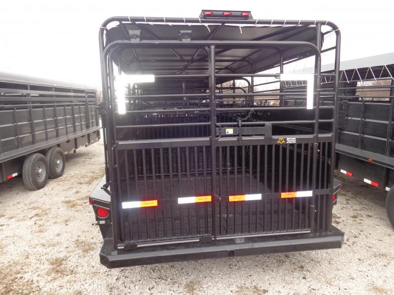 Delco 24' x 6'8 Powder Coated Black w/ Light Gray Tarp  Gooseneck Livestock Trailer