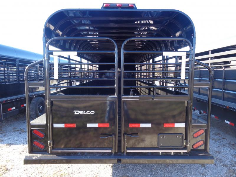 Delco 24' x 6'8 Premium Gooseneck Stock Trailer Metal Top Black