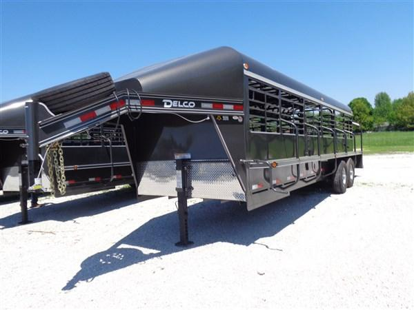 Delco 24 x 6'8 Premium Gooseneck Stock Trailer Metal Top Dark Gray