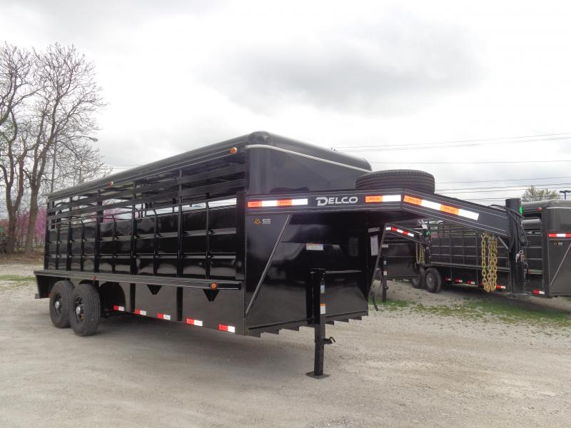 Delco 20' x 6'8 Metal Top Powder Coated Black Gooseneck Livestock Trailer