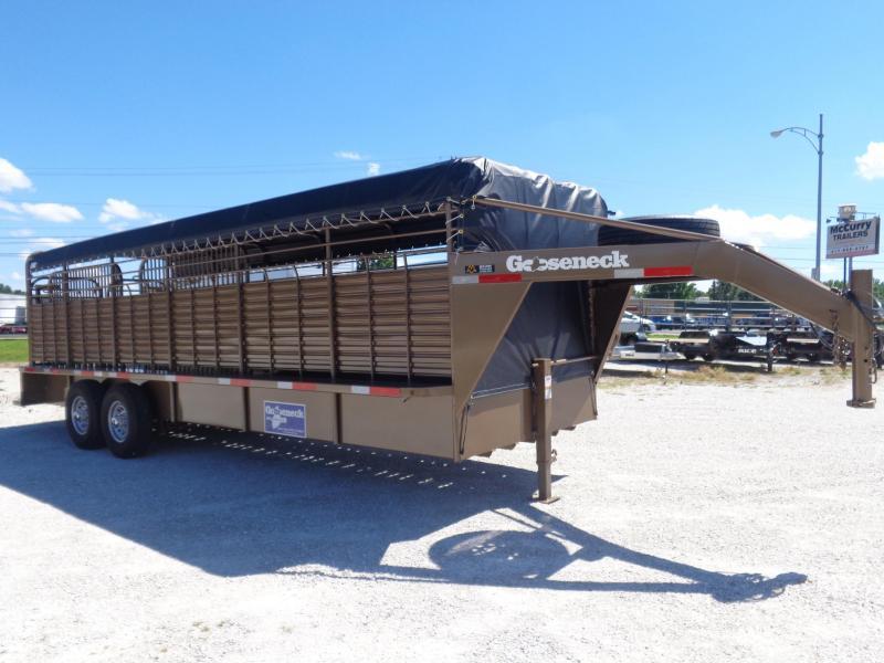 Gooseneck Brand 24' x 6'8 Gooseneck Light Autumn Metallic with Black Tarp Livestock Trailer