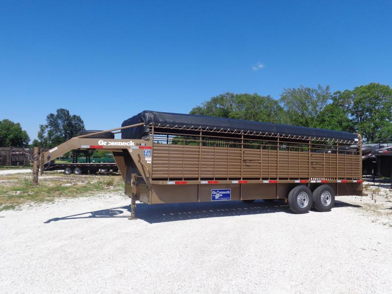 Gooseneck Brand 24' x 6'8 Gooseneck Light Autumn Metallic with Black Tarp Livestock Trailer