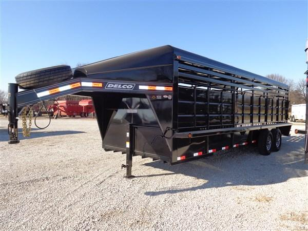"Delco 24' x 6'8"" Gooseneck Metal Top Black Powder Coat"