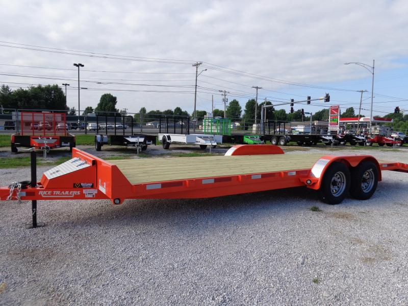 2018 Rice 18'+2' Dovetail Flatbed Car Hauler Equipment Trailer