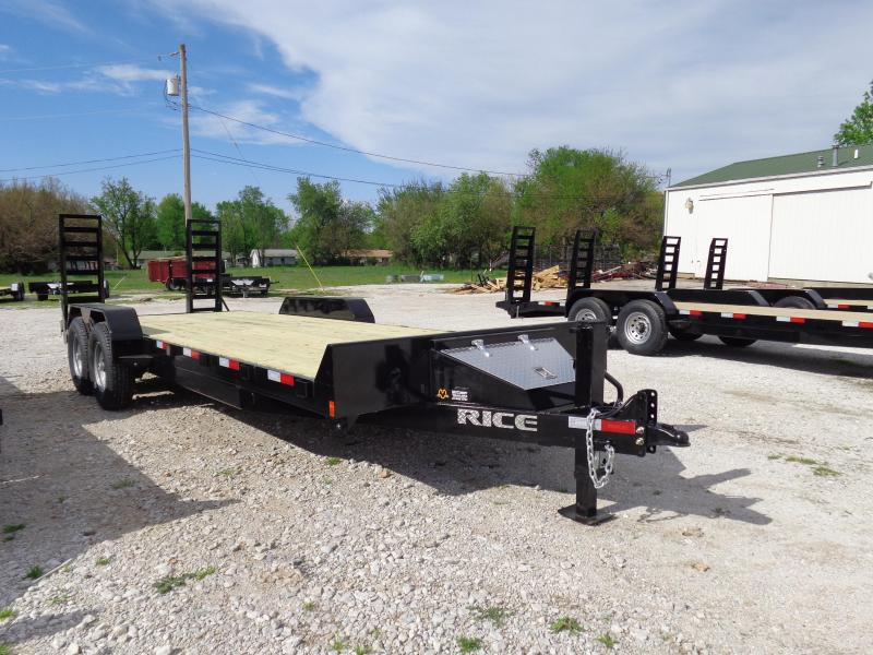 2019 Rice 18'+2' Bumper Pull 14000# HD Flatbed Equipment Trailer