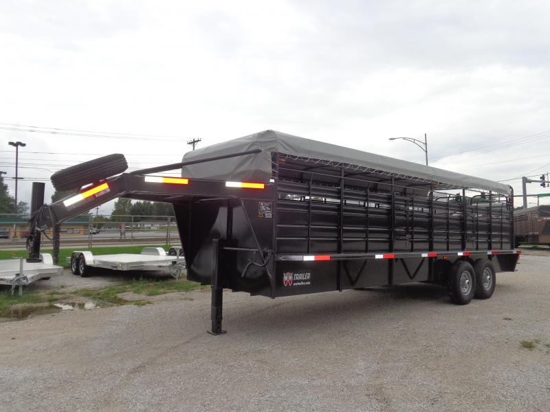 W-W 24 x 6'8 Roustabout Gooseneck Dark Shadow Gray with Light Gray Tarp Livestock Trailer