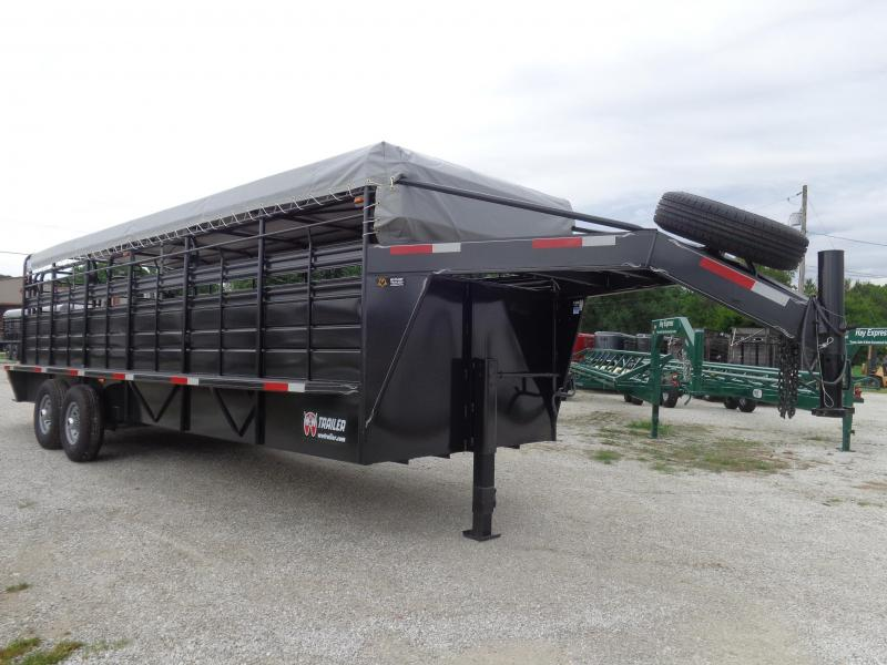 W-W 24 x 6'8 Roustabout Gooseneck Dark Shadow Gray with Light Gray Tarp Livestock Trailer
