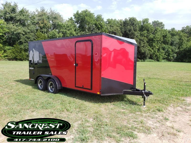 2019 Impact Trailers 7 X16  Enclosed Cargo Trailer (BLACK & RED)