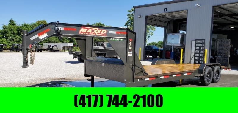 2019 MAXXD 83X24(22+2) TANDEM 14K GOOSENECK W/ EQUIPMENT STAND UP RAMPS in Lowell, AR