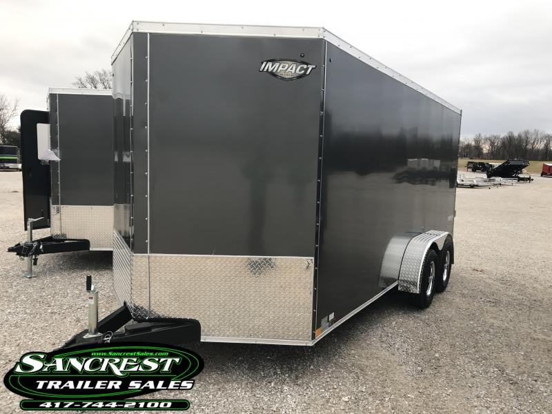 """2019 Impact Trailers 7X16 TANDEM CHARCOAL Enclosed Cargo Trailer W/6'6"""" HEIGHT"""