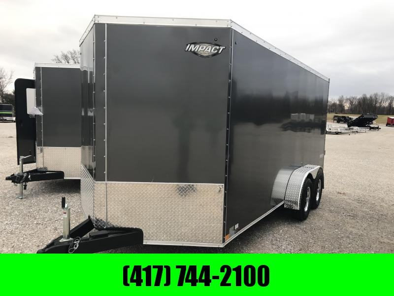 "2019 Impact Trailers 7X16 TANDEM CHARCOAL Enclosed Cargo Trailer W/6'6"" HEIGHT"