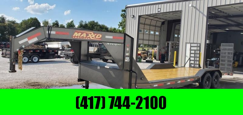 2020 MAXXD 102X24(22+2) TANDEM 14K GRAY MTALLIC GOOSENECK CAR/EQUIPMENT TRAILER W/EQ. STAND UP RAMPS