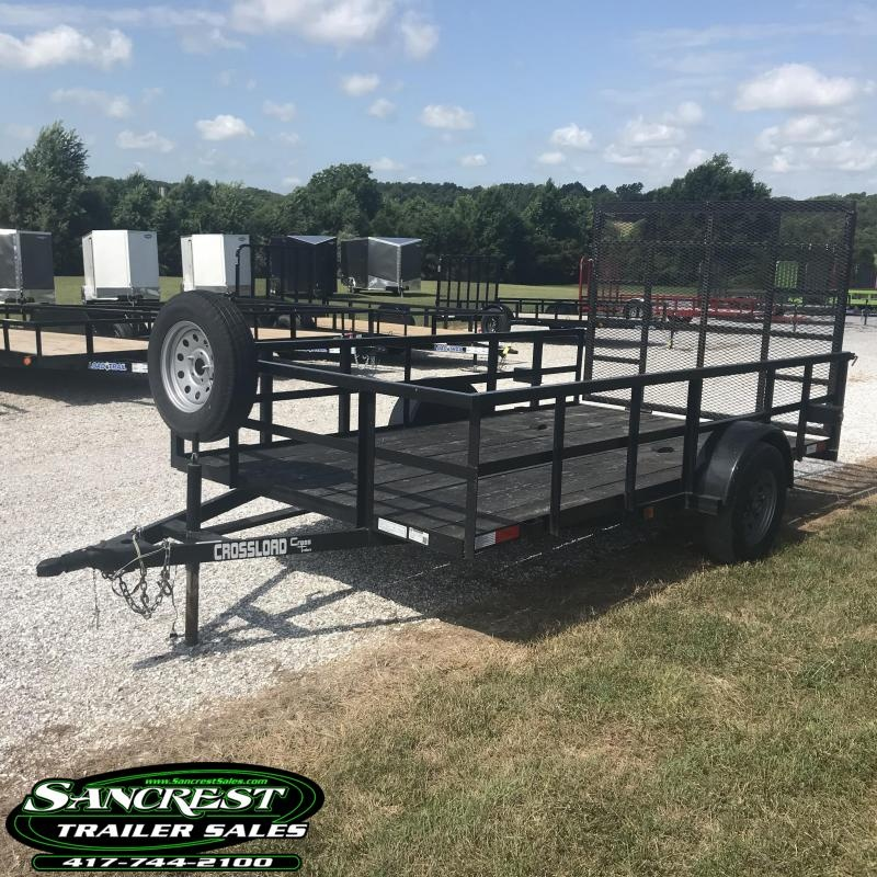 2017 Cross Trailers 77X12 Utility Trailer W/ 2' SQ. TOP RAIL?4' GATE?SPARE TIRE W/MOUNT