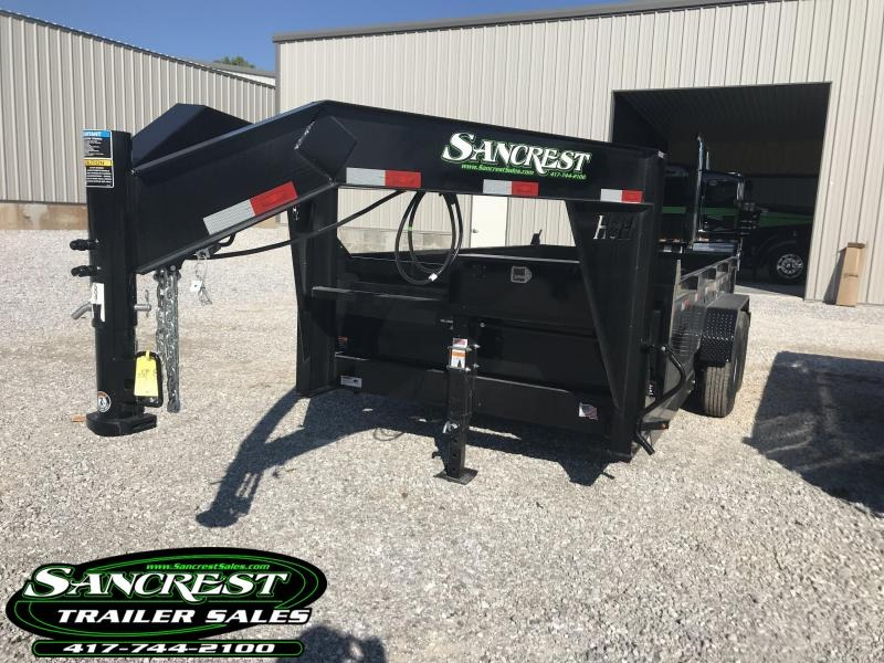 2018 H and H Trailer 83X14 LOW-PRO GOOSENECK Dump Trailer w/7 ga floor