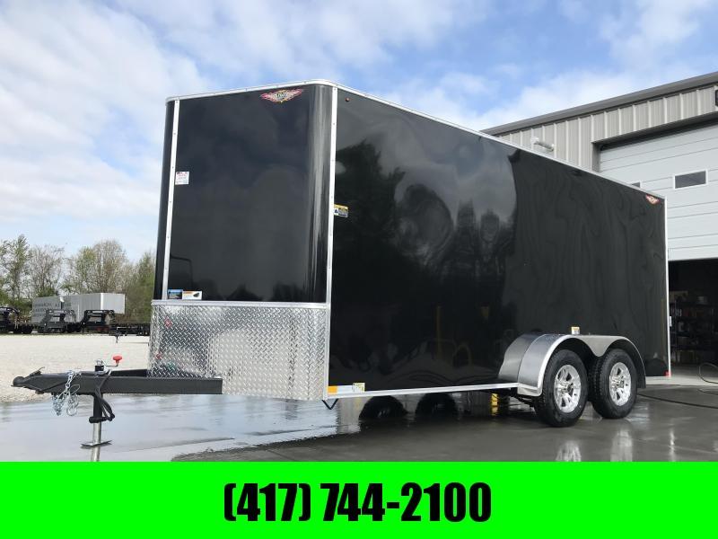 "2019 H&H 7X16 TANDEM BLACK 7K CARGO W/6'6"" HEIGHT"