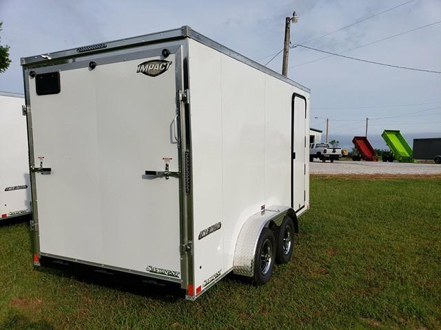 2019 Impact Trailers  Enclosed Cargo Trailer 7 X14  WHITE W/ RAMP DOOR