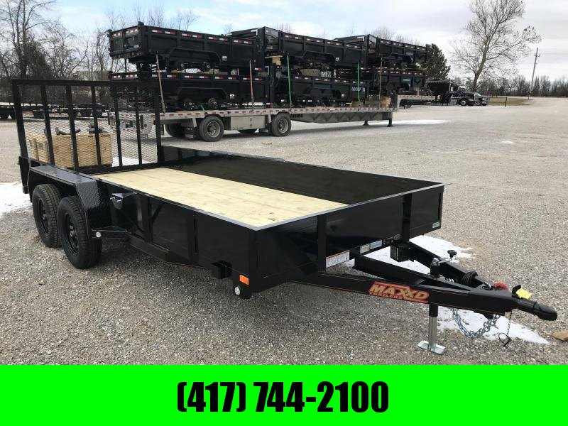 2019 MAXXD 77x16 TANDEM Utility Trailer W/SOLID SIDES AND 4' SPRING GATE