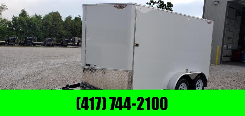 "2019 H&H 7X12 TANDEM 7K WHITE CARGO W/6'6"" HEIGHT & RAMP DOOR"