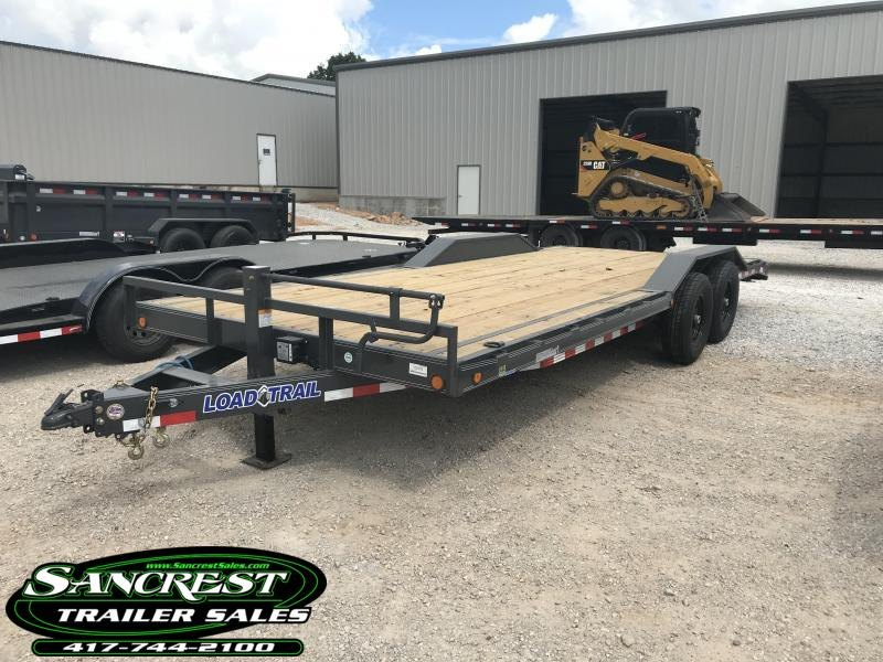 2019 Load Trail 102x22 CAR HAULER w/7k axles/2ft dove tail/slide out ramps (GRAY)