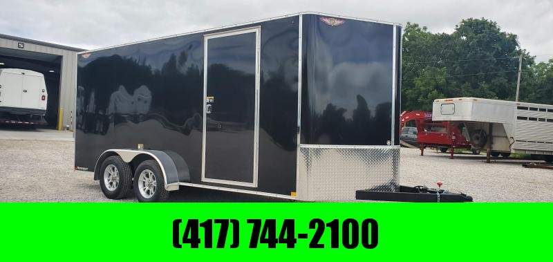 "2020 H&H 7X16 TANDEM 7K BLACK CARGO W/6'6"" HEIGHT & ALUMINUM WHEELS"