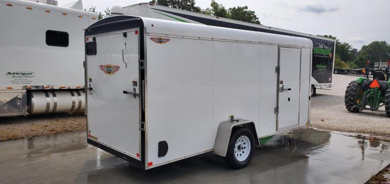 2019 H&H 6X14 SINGLE WHITE ROUND TOP CARGO W/RAMP DOOR
