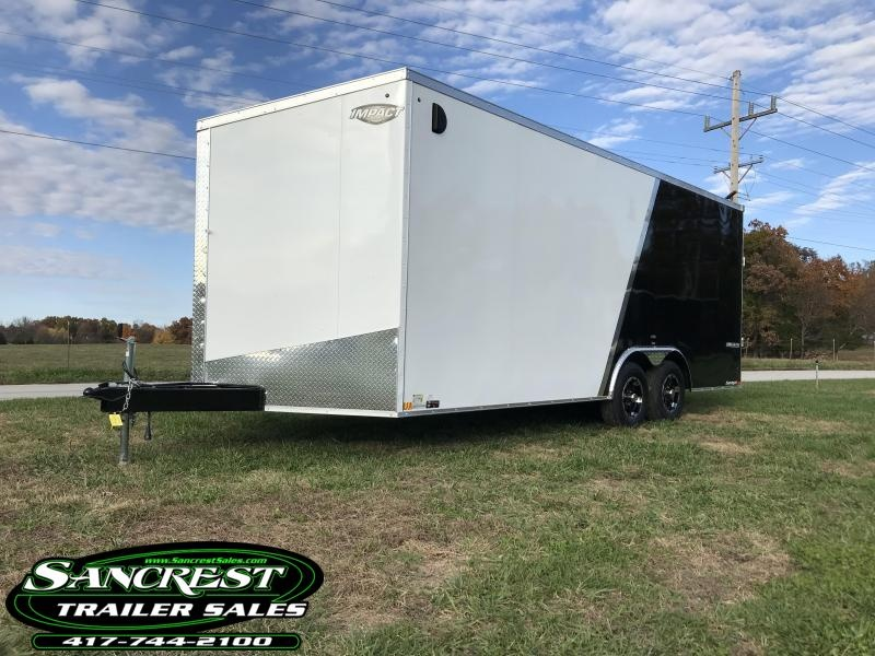 2019 Impact Trailers 8.5x20 2 tone WHITE/BLACK  Enclosed Cargo Trailer W/5200 AXLES AND ALUM. RIMS