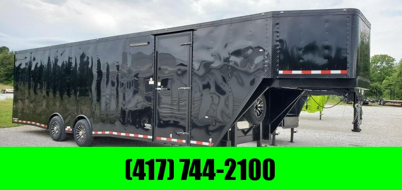 "2019 102X36(28+8) TANDEM 14K BLACKED OUT GOOSENECK CARGO W/7.5FT HEIGHT 48"" SPREAD OVER FENDER DOOR in Ashburn, VA"