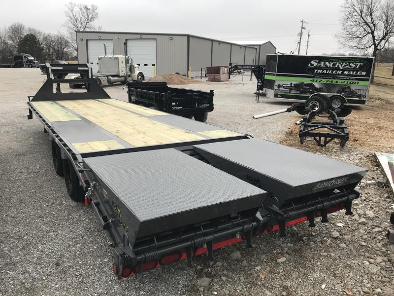 2019 Load Trail 102X28 GRAY LO-PRO Gooseneck Flatbed Trailer W/MAX RAMPS